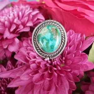 Estate Old Pawn Green Turquoise Ring